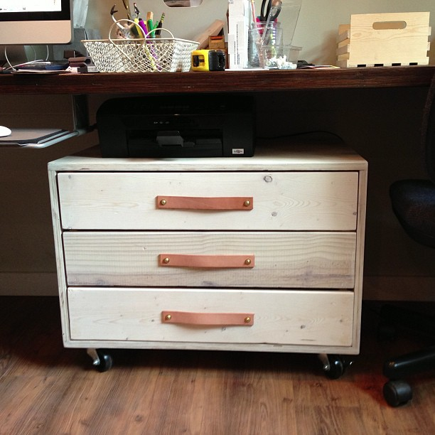 my new office supply cabinet w leather pulls - made by me!