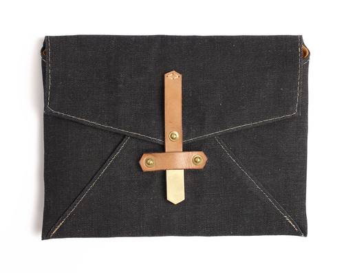 Closed Front iPad Case Denim and Leather