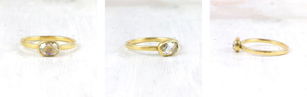 oval rosecut diamond in 18k yellow gold