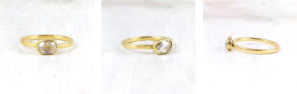 oval rosecut diamond in 18k yellow gold